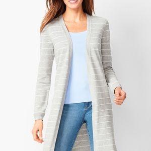 NWT Talbots grey striped open cardigan sweater PL